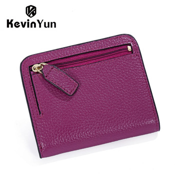 KEVIN YUN Designer Brand Fashion Split Leather Women Wallets Mini Purse Lady Small Leather Wallet with Coin Pocket 1