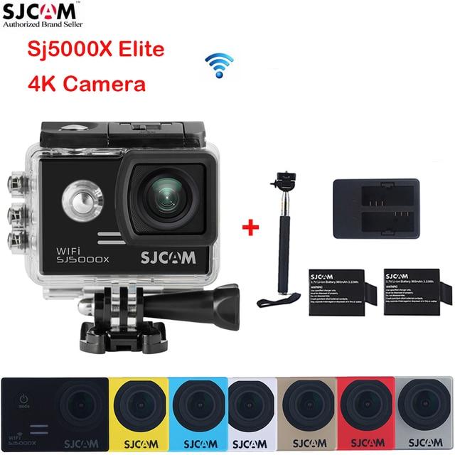 Original SJCAM SJ5000X Elite 4K 2.0'' WiFi 30M Waterproof Sports Action Camera Sj 5000X Cam DVR +2 Battery+Dual Charger+Monopod