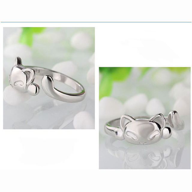 JEXXI Fashion Cute Fox Rings Lovely Animal Funny Party Finger Rings for Women 925 Sterling Silver Jewelry Free Shipping