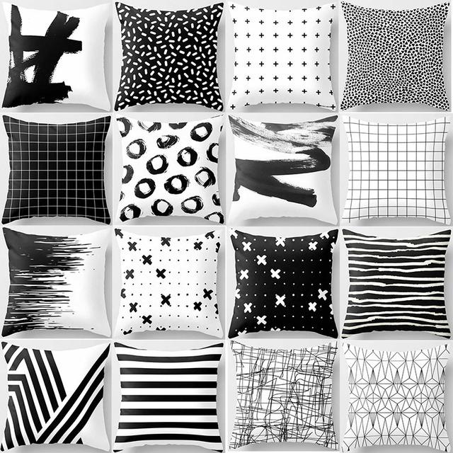 Black/White/Gray Decorative Pillow Cover