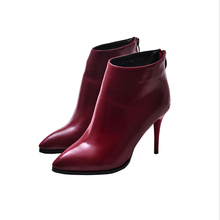 Nice New Fashion Pointed Toe Autumn Women's Ankle Boots Black/Red/Grey Solid Color Pumps High Heels Woman Leather Shoes WSH385