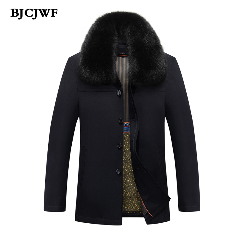 BJCJWF winter jacket men white duck down Thickened Warm Fox Fur collar Parka Casual Black Brand Top quality Middle-Aged Coat 5XL