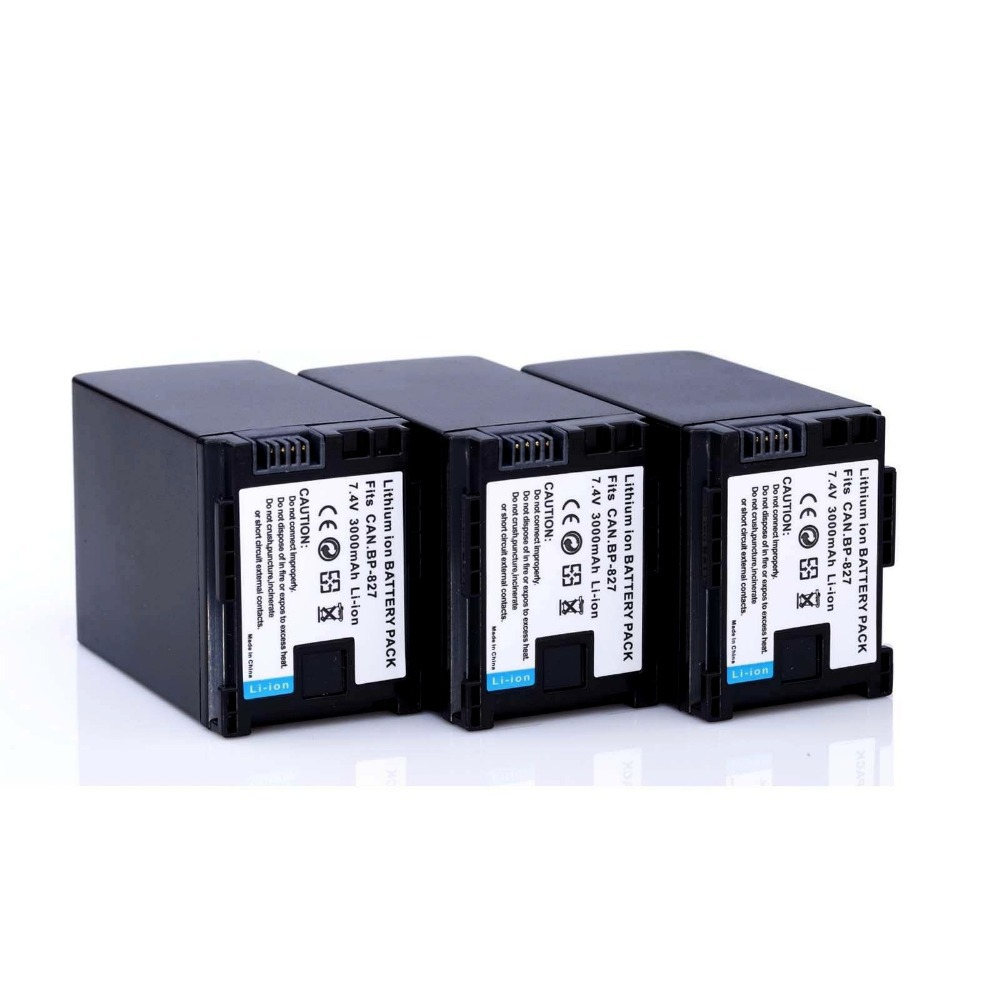 3pcs 7 4V 3000mAh BP 827 BP 827 BP 827 camera Battery Pack for CANON HF20