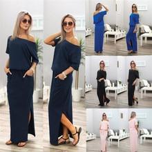 Straight Dress Slash Neck Half-Sleeve Off-Shoulder Sexy Summer Cotton Casual Solid-Color