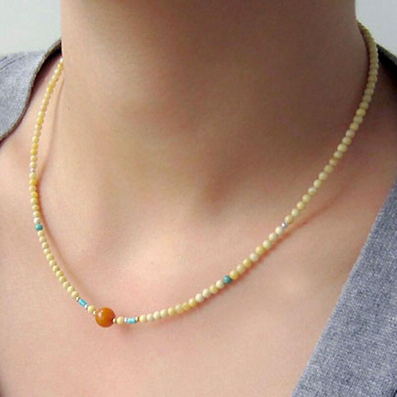 Yoowei Ámbar Báltico Collar para Las Mujeres de Color Caramelo Pequeñas Perlas Naturales Genuinos Originales Redonda Ámbar Joyas Al Por Mayor