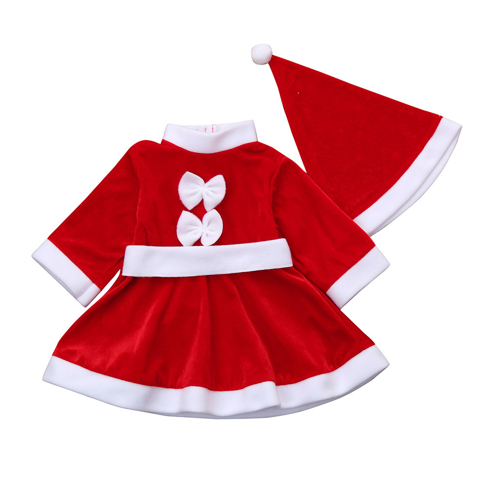 New Autumn Toddler Kid Baby Girl Christmas Style Clothes Set Cute Cotton Solid Costume Bowknot Party Princess Dresses+Hat Outfit