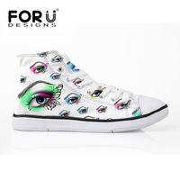 FORUDESIGNS Classic High Top Casual Shoes Woman 3D Eyes Printed Canvas Shoes For Women Lace Up