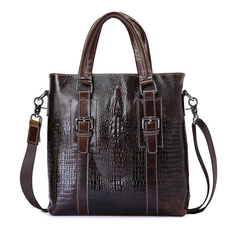 Real Leather handbag Retro Briefcase Business Men Bags Crocodile pattern Mens Handbags Genuine Cow Leather Bag for Computer factory pirce free shipp genuine leather unisex fashion crocodile pattern handbag briefcase laptop bag 7276a