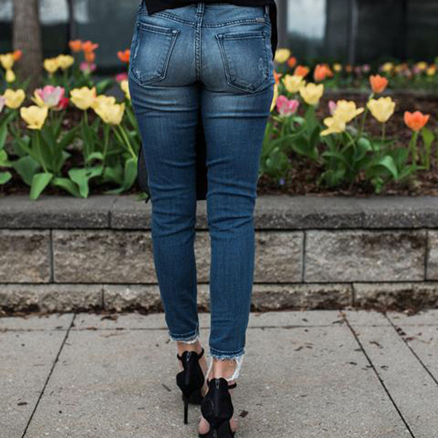 Women Denim Skinny Pants Ripped Destroyed Pleated Stretch Jeans Slim Pencil Trousers 3