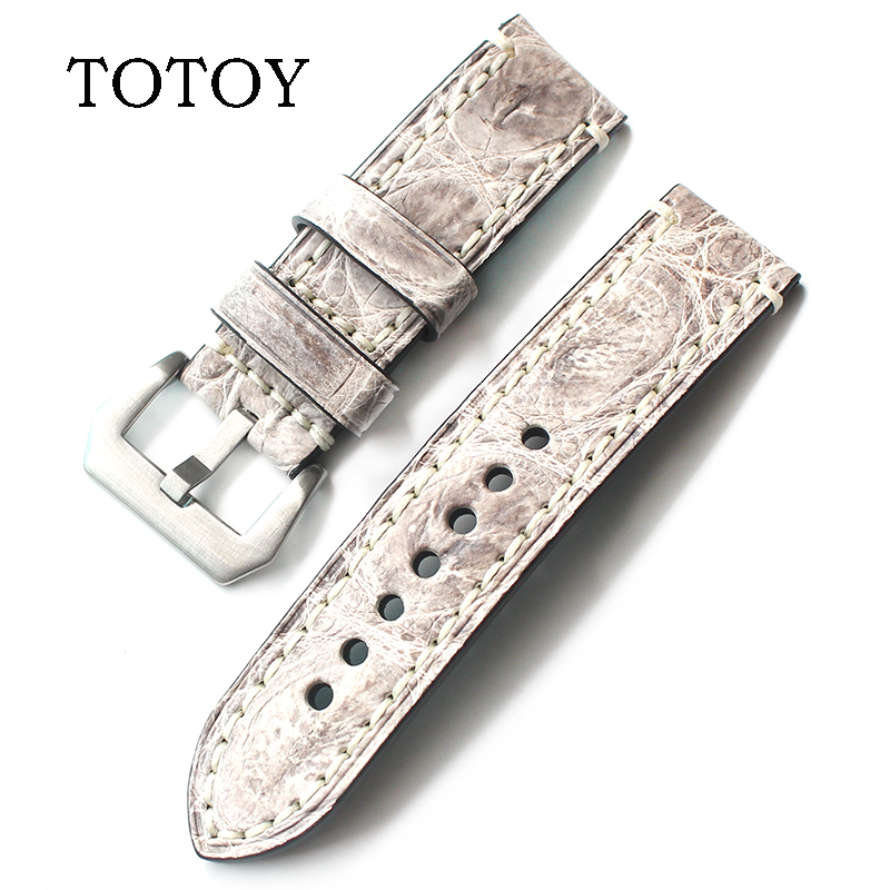 TOTOY high quality crocodile leather strap, gray 20mm24mm22mm American crocodile leather watch band for Panerai PAM watch strap eyki h5018 high quality leak proof bottle w filter strap gray 400ml