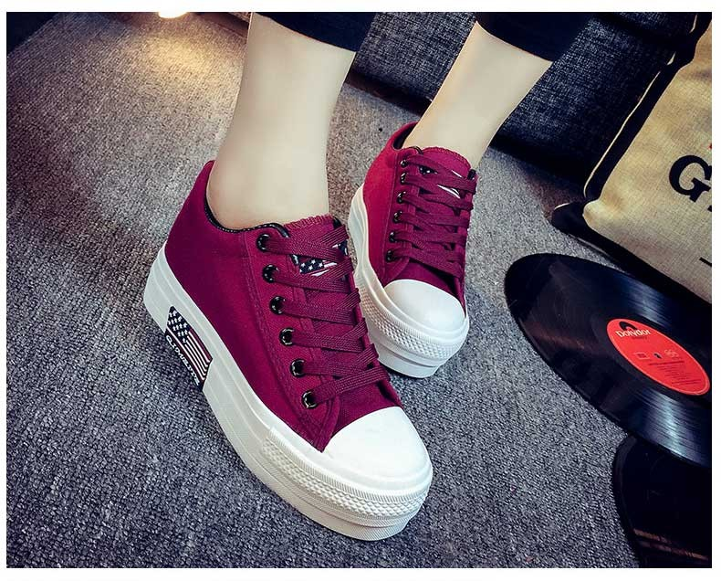 Hot Sale Women Shoes Thick Bottom Platform Non-slip Women Canvas Shoes Round Toe Mix Color Shoes For Women Drop Shipping S95 (19)