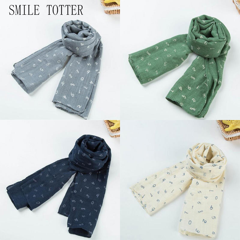 2018 new style figure children's scarf autumn and winter high quality design fashion cotton linen number baby scarf