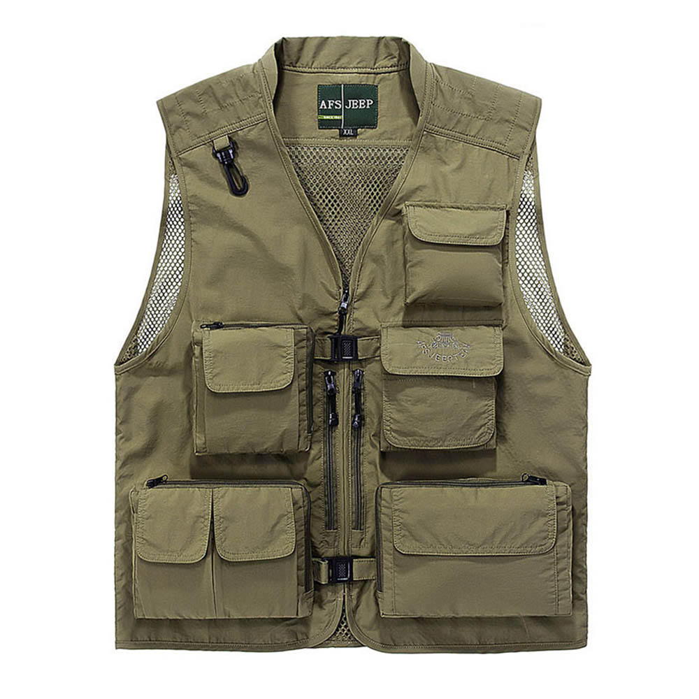 Free Shipping Men Causal Multi Pocket Shooting Vest Army Military Mesh Leisure Jacket Photography Director Vest