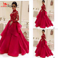 Ball Gown 2016 Organza Prom Evening Dresses Gown Elegant Ruffles Long Sleeve Appliques Formal Women Dress Sexy