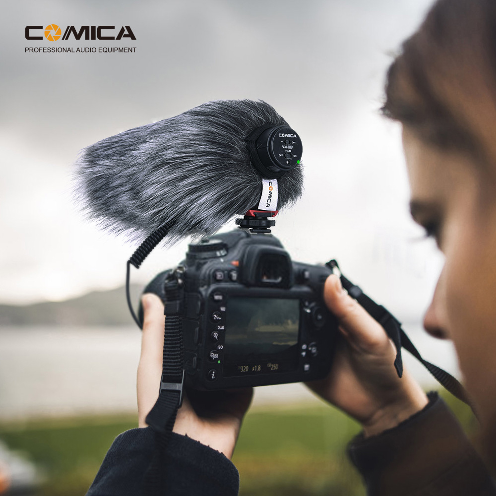 Comica CVM-V30 PRO Camera Microphone,Super-Cardioid Shotgun Condenser Microphone with 3.5mm Jack,10dB Adjustable Sensitivity Video Mic for Canon Nikon Sony Panasonic DSLR Camera Red