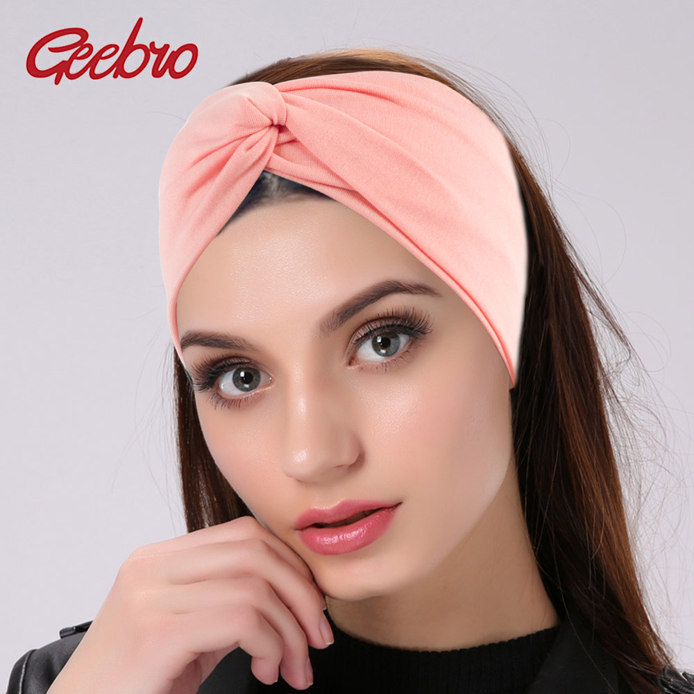 Geebro Women's Plain Turban Headbands Twist Elastic Stretch Hairbands Fashion Headband Yoga Headwrap Spa Head Band for Girls