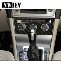 NWIEV Car Styling Stickers For Volkswagen VW Golf 7 GTI R GTE GTD MK7 2013 16 2017 LHD Carbon Fiber Consle AC Switch Accessories