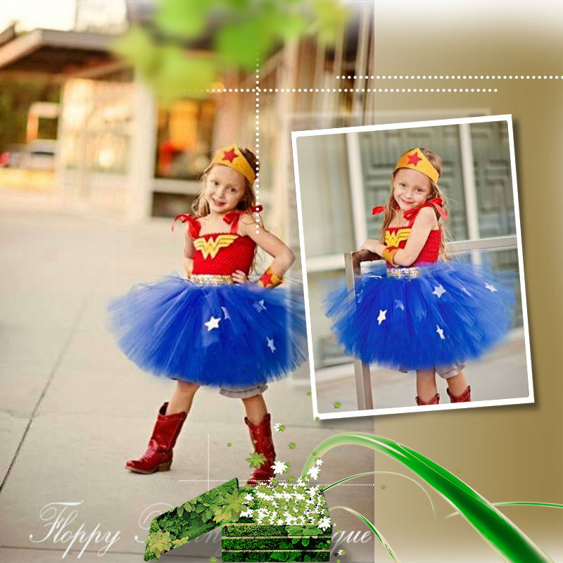 Children's Day Girls Stage Performance Costumes Cosplay Wonder Woman Princess Ball Gown Dress Hero Star Kids Dancing Clothing