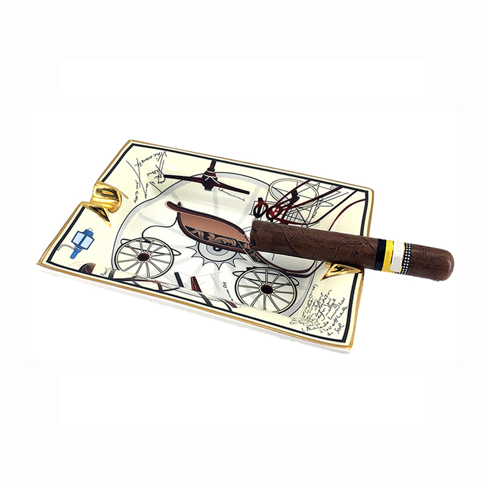 LUBINSKI cendrier cigare 2 porte cigare cendrier céramique motif rétro plateau Design pour Patio extérieur ménage bureau décoration