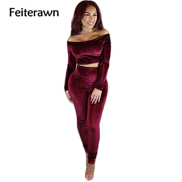 Feiterawn 2017 Autumn Winter Women Sexy Fashion Velvet Rompers Slash Neck Full Sleeve Corduroy Backless Pants Sets OS6019