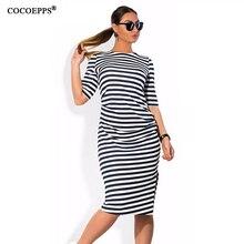 fashionable Striped Autumn women dresses big sizes NEW 2017 plus size women clothing Knee-Length dress casual o-neck loose dress