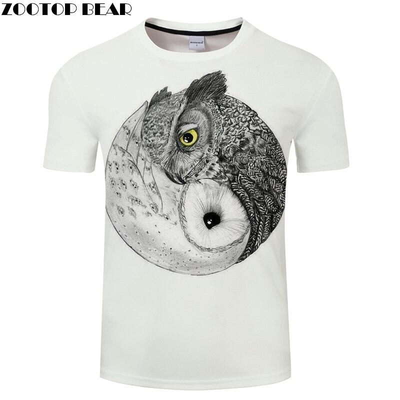 Ying & Yang Owl Prints T-shirt 3D Printing White Mens T-shirts 2018 Mens Clothing Tees Tops Drop Ship ZOOTOP BEAR
