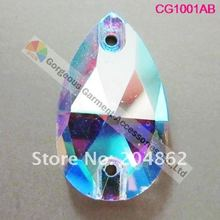 Free shipping 100pcs/lot,7x12mm glass rhinestone sew on Crystal AB crystal Waterdrop/Teardrop Shape with sliver base 2 feet passive crystal sliver 18 pcs