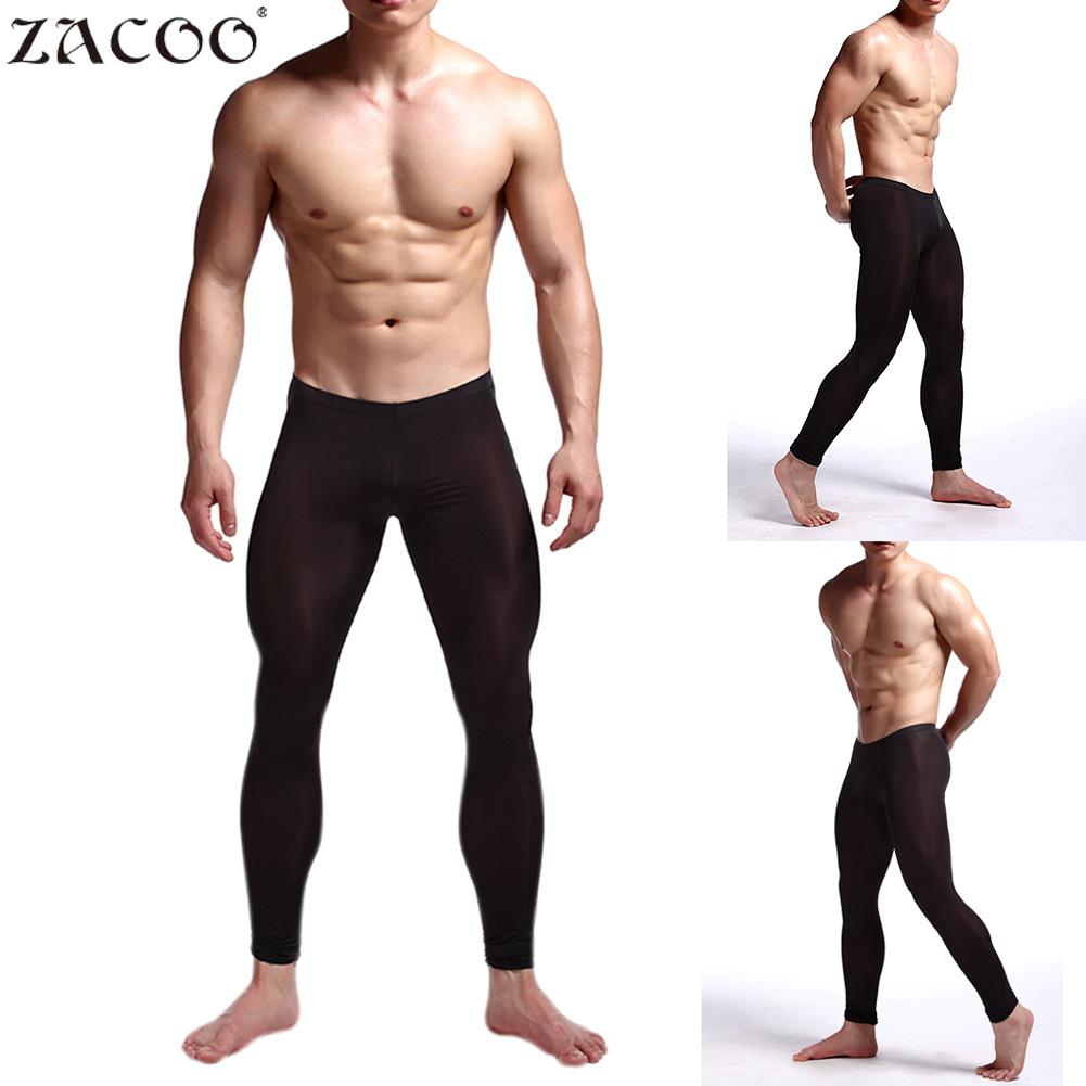 ZACOO Men Ice Silk Thin Sleep Bottoms Underwear Pants Stretch Yoga Thin Warm Leggings Lifting Tights Pants 2018 Autumn New