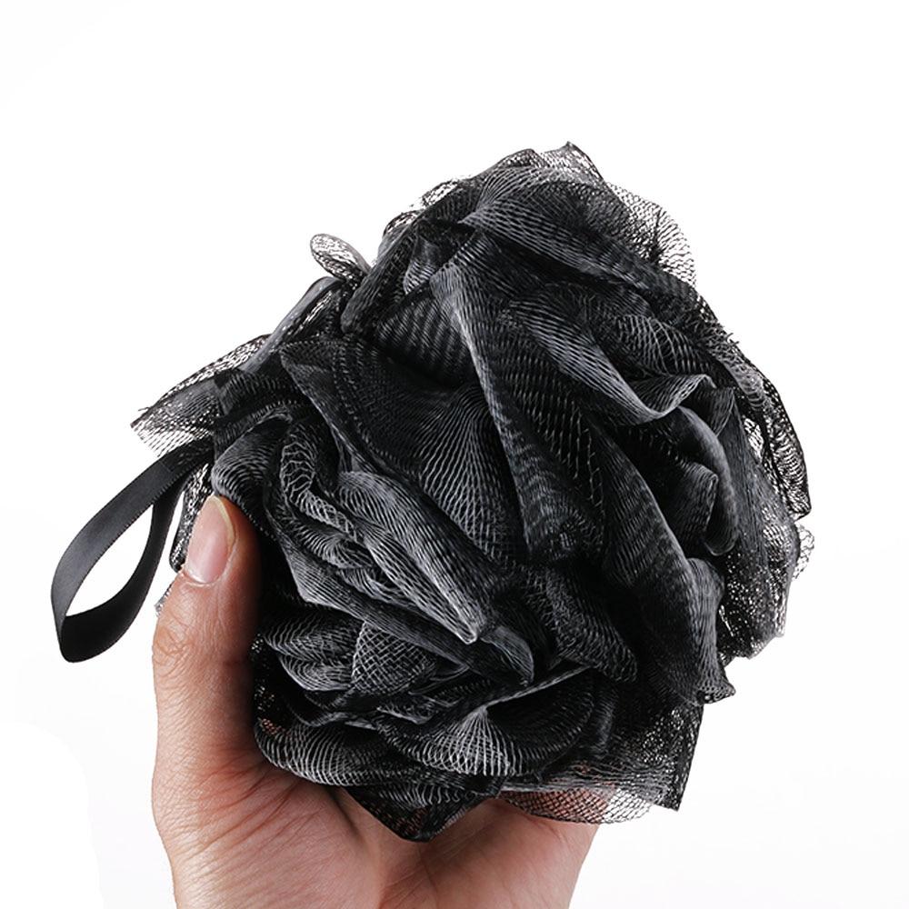 Black Luxury Loofah Shower Pouf Bath Product Luffa Sponge Exfoliating Mesh Pouf Washing Cleaning Sponge bathroom supplies
