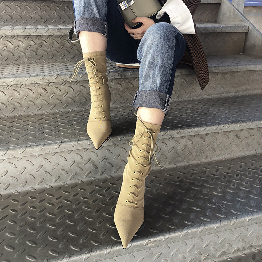 Las Botas Frente Otoño Cruz Calcetines Mujeres De Punta Tacón Cortas Sexy Atado Moda Perfetto negro Beige Invierno Prova Elástico Tejido azYwvq