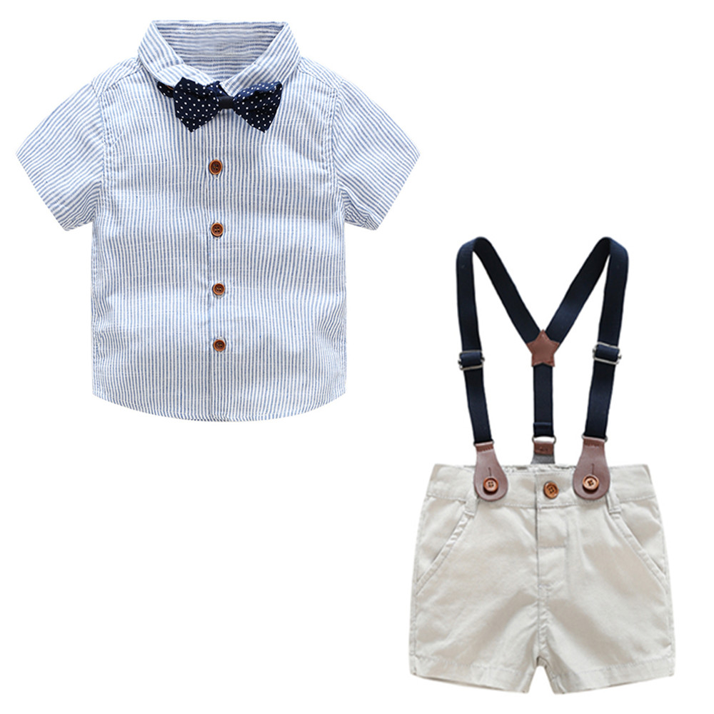 Baby Boys Gentleman Suits Summer Short Sleeve Stripe Bow tie Shirt +Overallss Shorts Infant 2pcs Outfits