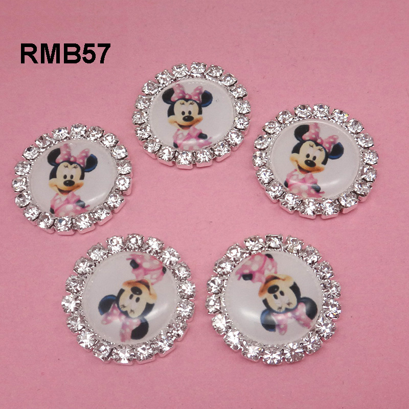 Minnie Mouse Cabochon Resin center Rhinestone Flat Back Scrap Booking Girl Hair Bow Center Kids Crafts DIY 20mm 30pcs RMB057