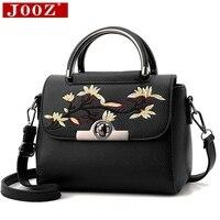 JOOZ Women Floral leather bag embroidery Peach flowers handbags Fashion Lady Shoulder Messenger Bag Short handle Clutch Bolsa