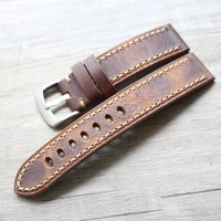 Genuine Leather Watchbands Men Brown Crazy Horse Watch Band Strap for Panerai Belt Stainless Steel Buckle 20 22 24 26mm relogio
