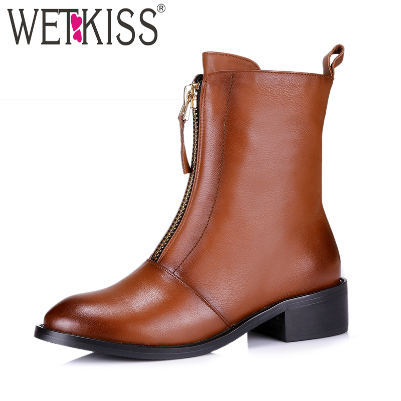 WETKISS Cow Leather Women Boots Round Toe Footwear Thick Heels Ankle Female Motorcycle Boot Zip Rubber Shoes Woman 2018 Winter women ankle boots handmade genuine leather woman boots autumn winter round toe soft comfotable retro boot shoes female footwear