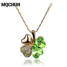 MQCHUN Crystal From Necklace High Quality Four Leaf Clover Rhinestone Statement Necklaces Wedding Jewelry -30