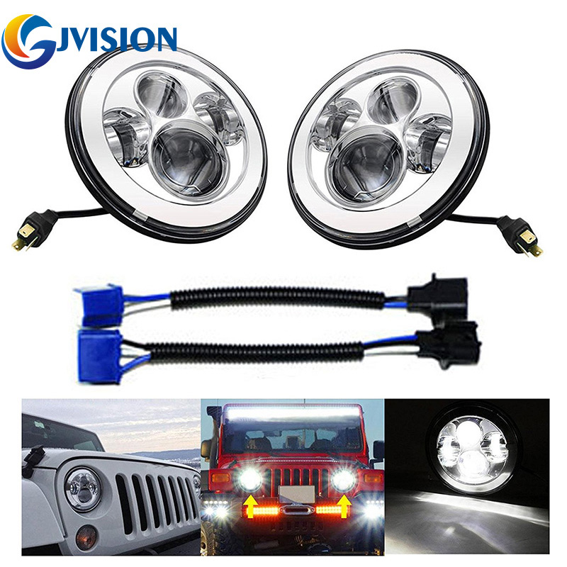 40W 7 INCH Round led headlight headlamp for Jeep Wrangler 97-15 JK Land Rover Defender H4 7'' led Driving light Black/Chrome усилитель руля насос для land rover defender 07 ld90 15 внедорожник 2 4 td4 oem lr009817 новый