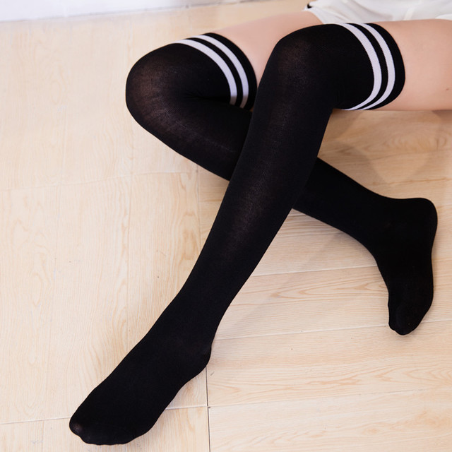 White Women Fashion Long Socks Over Knee High Temptation Stretch Polyester  Socks Long Socks Women Solid Dropshipping 30AT3