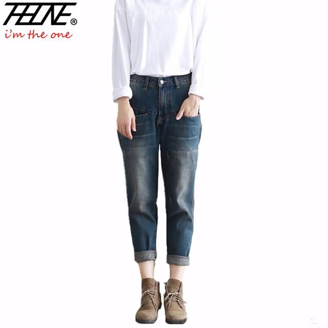 f9082ecd 2016 Nuevos Pantalones Vaqueros de Las Mujeres Pantalones de Mezclilla de  La Vendimia Retro Casual Pantalones Moda Harem Larga Boyfriend Jeans ...