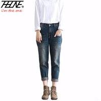 2018 New Jeans Women Denim Pants Vintage Retro Casual Trousers Fashion Harem Pants Long Boyfriend Jeans Ripped