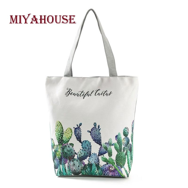 New Fresh Women Canvas Tote Bags Green Cactus Printing Shoulder Bag Female Summer Beach Bags For Girls Shopping Bag