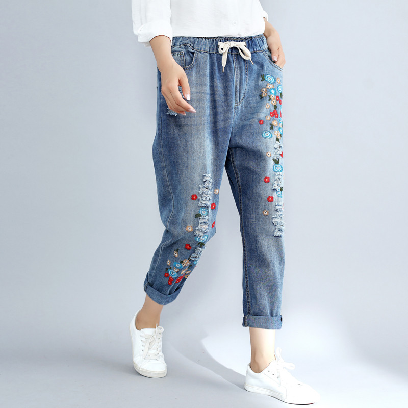 Plus Size 3XL Floral Embroidery Boyfriend Ripped Jeans For Women Harem Pants Lace Up Drawstring Denim Jeans Vaqueros Mujer C4304