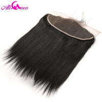Ali Coco Hair 13x4 Brazilian Straight Lace Frontal Closure With Baby Hair Free Part 8 20'' Non Remy Hair Natural Black