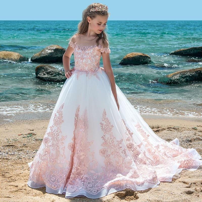 Off The Shoulder   Flower     Girl     Dresses   2019 Pink Appliques Organza Pageant   Dress   First Communion   Dresses   For   Girls   Vestido Longo