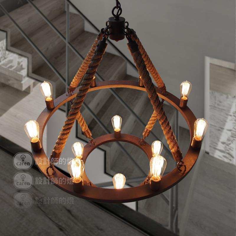 Новый industral Loft 12 огни Круглая Люстра Винтаж 2 гладить кольцо пеньковый Канат висит кулон лампы Бесплатная доставка