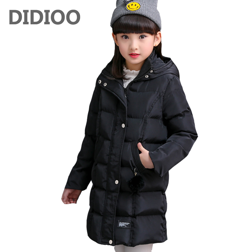 Baby Hooded Jackets For Girls Thick Long Winter Parkas Coats For Children Cotton-Padded Outerwear 2 4 6 8 10 12 Years Kids Tops winter russia girls cotton coats baby jacket thick warm kids outerwear parkas children clothing for 4 6 8 10 12 years