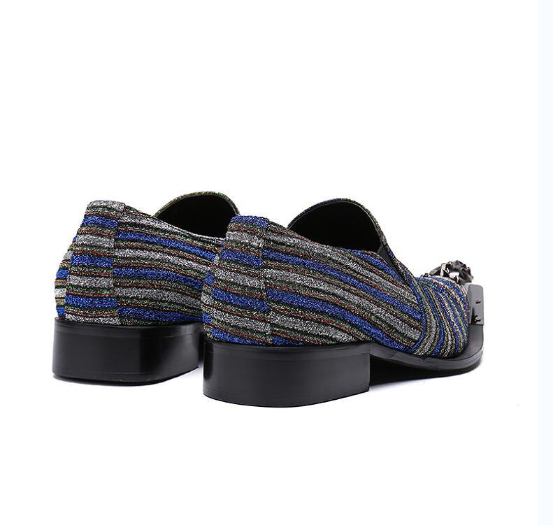 e709747f39 Vestir Cabeza De León Cuero Hierro Punta Slip Negocios Rayas On As Mixtos  Bling Picture Sequined Genuino Hombres Hombre Paño Zapatos qXSW1aI