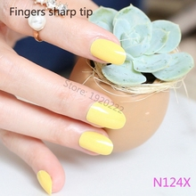 The New selling Solid round small round head False nail patch Nail products wholesale Lemon P124X