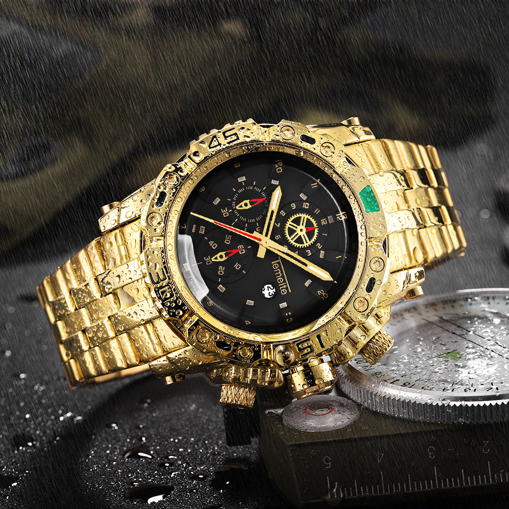 TEMEITE Creative Golden Men Quartz Wristwatches 3D Dial Design Full Steel Calendar Waterpr