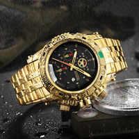 TEMEITE Kreative Goldene Männer Quarz Armbanduhren 3D Zifferblatt Design Voller Stahl Kalender Wasserdichte Große Uhren Top Marke Luxus Uhr